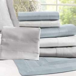 Hotel 600-Thread-Count Sheet Set, Twin, Silver - Sateen woven to a luxurious 600-thread count, our sheeting has a soft texture and silky luster that rivals the bedding at the finest luxury hotels. Made of pure cotton sateen. 600-thread count. Oeko-Tex certified. Set includes flat sheet, fitted sheet and two pillowcases (one with twin). Pillow insert sold separately. Machine wash. Made in Italy. Monogramming is available at an additional charge. Monogram will be centered along the border of the pillowcase and the flat sheet.