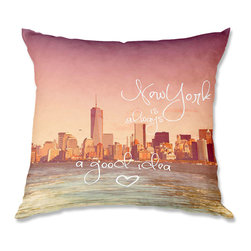 DiaNoche Designs - Pillow Woven Poplin from DiaNoche Designs by Monika Strigel New York Skyline - Toss this decorative pillow on any bed, sofa or chair, and add personality to your chic and stylish decor. Lay your head against your new art and relax! Made of woven Poly-Poplin.  Includes a cushy supportive pillow insert, zipped inside. Dye Sublimation printing adheres the ink to the material for long life and durability. Double Sided Print, Machine Washable, Product may vary slightly from image.