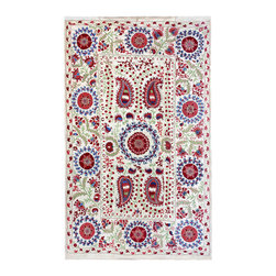 """Handmade Modern Suzani - L1270 - This 57"""" x 93"""" new Suzani will spice up your interior decor whether you use it as a wall hanging or a table covering. Suzanis add a touch of sophistication to many styles of interiors, from traditional to contemporary, to boho - chic decor."""