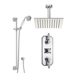 "Hudson Reed - Edward Shower System - This traditional shower system is the perfect combination of sensational showering and functionality. The brass rain shower head is 8"" x 8"" and is designed to recreate the sensation of heavy rainfall. This creates an experience very different from a standard shower and is much more relaxing."