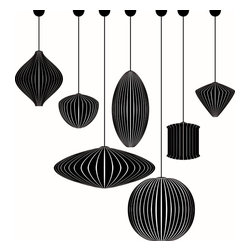 Dana Decals - Mid-Century Modern Bubble Lamps Collection Wall Decals - These lamps are inspired by the designs of one of the pioneers of Mid-century Modernism, George Nelson.  Ideal for schools, offices, and homes.