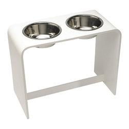 "Trendy Pet - 12 Inch Elevated Dog Bowl With Two 2 Quart Bowls, White, 12"" - Dog and cat food bowls should be raised off the floor for your animal's health, comfort and digestion while eating and drinking. Trendy Pet's handmade feeders does this while adding a modern flair to your decor. Easy to clean in the sink or with a damp cloth. Quality stainless steel bowls are removable for easy cleaning and filling"