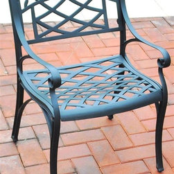 Crosley Furniture - Arm Chair in Charcoal Black - Set of 2 - Set of 2. Contoured seat for comfort. Non-toxic sealed powder coated finish. Maintenance free. UV resistant. Transitional style. Warranty: 90 days. Made from solid cast aluminum. Charcoal black color. Assembly required. 22 in. W x 23 in. D x 33 in. H (35.1 lbs.)It may be hot outside, but youll feel cool kicking back in our heavy duty, solid-cast aluminum furniture. Designed for style and built to last, this armchair features a durable charcoal black powder coated finish that will weather the harshest of outdoor conditions. Experience pure nirvana while unwinding in the chairs comfortable contoured seats. Your very own outdoor oasis awaits you!