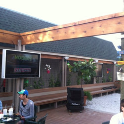 Custom Built Outdoor TV Enclosures - A.I.C. custom built outdoor weatherproof television enclosures for the Frosty Frog Restaurant located in Hilton Head, SC