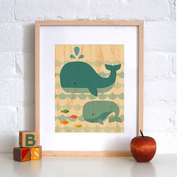 Petit Collage Whale Baby - Print on Wood - Whale Baby - Print on Wood