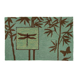 Homefires - Zen Bamboo Garden Rug - Soothing browns and greens depicting an evocative Zen garden theme make this more than just an accent rug. Placed in your enclosed porch, sunroom or greenhouse, you'll love the calm scene conjured by the bamboo and dragonfly design.