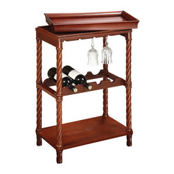 Sterling Industries - Sterling Industries 6043453 Piccadilly Wine Cart - Smart Design And Charm Are Combined For This Practical, Fashionable And Functional Wine Cart.  Finished In Natural Cherry Tones.  Wine Cart (1)