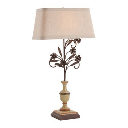 La Rochelle Painted Solid Wood / Rusted Iron Lamp - It may take its inspiration from a timeless treasure tucked among antiques at a grand magasin in France. The traditional lamp base of solid wood, painted in a warm misty gray, sits atop an iron base delicately flecked to reveal an aged patina that lends an authentic texture to your transitional decor. The Natural Linen Shade with Smoke Gray Cotton Lining diffuses a soothing light in your great room, library, or sitting room.