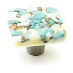 "Windborne Studios - Pebbles Glass Knobs and Pulls, Turquoise, 1.5"" Square - The ""Pebbles Collection"" is inspired by Northern Michigan Shorelines."