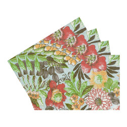 Enchante Accessories Inc - Raymond Waites Reversible Placemats - Set of 4 (Aqua/Multi Flowers) - Premium quality 100% cotton table linen with finished seamExpertly tailored with high quality cotton linenMachine wash in cold with like colors, colors do not bleedFloral patterns with elegant vintage styleSet of 4 Cloth PlacematsElegant and functional, these cloth placmats serve to dress a table. Use on dining room tables, banquet tables and restaurants. We carefully select high-quality fabrics and threads to create every table linen. Made from natural materials and dip-dyed with non-toxic dye, the reactive dyeing process makes the table linens a beautiful and solid color while maintaining their natural softness.These gorgeous floral prints invite lively conversations for brunch, lunch, garden parties and casual dining. Made in India of 100% cotton, in deep colors as shown, these exciting placemats are beautifully finished with fine printed elegant patterns.These high quality cotton table placemats have a wonderfully vintage feel and are a great way to enhance your dining room setting. The place mats come in a variety of patterns and colors. They come packaged in a protective plastic button sealed case. (Set of 4)