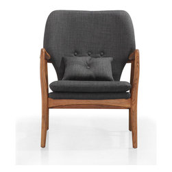 Across the Board Chair - This chair brings together family room comfort and boardroom class. With a solid wood frame and fashionable charcoal-gray upholstery, this is a sturdy, curvaceous chair built to last you many years.