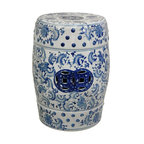 "Oriental Furniture - 18"" Floral Blue & White Porcelain Garden Stool - Round textured garden stool in a Ming blue and white floral pattern. High quality porcelain features traditional pierced double medallions in a rich blue color. Use to display a lamp or statue, or as a pair of low end tables by the sofa. Intended for indoor use only."