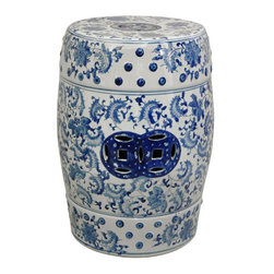 """Oriental Furniture - 18"""" Floral Blue and White Porcelain Garden Stool - Round textured garden stool in a Ming blue and white floral pattern. High quality porcelain features traditional pierced double medallions in a rich blue color. Use to display a lamp or statue, or as a pair of low end tables by the sofa. Intended for indoor use only."""