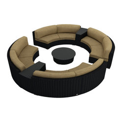 Urbana Eclipse 7-Piece Round Sectional Set, Beige Cushions