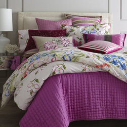 """Designers Guild - Designers Guild Pillow with Floral Embroidery, 18"""" x 24"""" - Lotus Flower bed linens feature the exotic blooms in vibrant colors on a softly distressed ground. Made of 300-thread-count cotton sateen. Machine wash floral sateen linens; dry clean all others. Imported. By Designers Guild®. """"Regence"""" Europe..."""