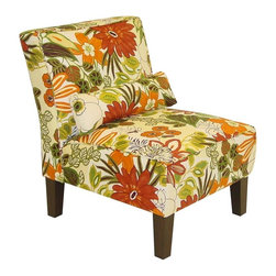 Skyline Furniture - Sudan Accent Chair in Floral (Seaglass) - Choose Upholstery: SeaglassAccent pillow. Handcrafted. Upholstered in polyurethane foam and polyester fill. Tapered legs. Solid wood frame. Spot clean only. Warranty: One year limited, excludes fabric. Made from 100% cotton. Made in USA. Assembly required. 32 in. W x 28 in. D x 33 in. H (32 lbs.)Add extra seating to your bedroom ,study, or living room with this modern chair. It is invitingly comfortable and beautifully made with a gorgeous print.