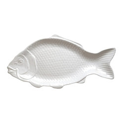 Revol - Revol Porcelain Grand Classiques Fish Dish - Bring charm and whimsy to your dinner table with this fish-shaped serving dish. This vintage-inspired sculptural piece will add a little cleverness to your table. Made of polished, culinary-grade porcelain, this dish is divine.