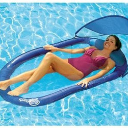 SwimWays Corp. - Spring Float with Canopy - Keep the sun out of your eyes as you lay back and enjoy water fun with a Spring Float with a canopy from toy splash! Position the adjustable removable canopy to guard your face and stretch out on this comfy 66-inch by 40-inch Spring Float lounge. It's everything you expect from a Spring Float and more! The spring float with a canopy springs open and closed and includes a mesh carrying bag to take your water fun on the go.