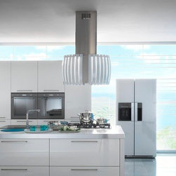 """Pearl White"" by Futuro Futuro - designer glass island range hood - The ""Pearl White"" illuminated kitchen range hood features gracefully curved glass ""petals"" illuminated by LED backlights."