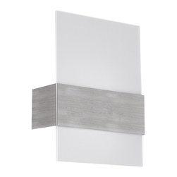 Eglo - Nikita - Beautiful wall light from Eglo´s Nikita family in matte nickel finish and satin glass.Product identificationCollectionNikitaCategoryWall light Design InformationFinishMatte NickelGlassSatin Dimensions and Weight (inches and pounds)Dimensions WIDTHHEIGHTEXT 8.8811.383.12Weight3.50 Bulb Information PRIMARY Bulb TypeR7 Number of Bulbs1 Max Wattage100