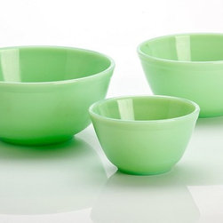 Handmade Jade Green Milk Glass Mixing Nesting Bowls - Jadeite has long been sought after by collectors, and these reproductions will brighten up your baking.