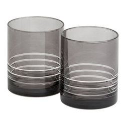 Nick Munro - Set of 2 Smoke Lo-Ball Tumblers - Inspired by Nick Munro's many visits to New York City, the sultry and sophisticated Smoke barware collection combines hand-cut tinted glass with polished metal details for a cosmopolitan look.