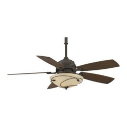 "Fanimation Hubberton Leaf 54 in. Indoor Ceiling Fan with Light - The Fanimation Leaf 54 in. Indoor Ceiling Fan with Light is designed to stir things up and that's why you'll love it. This classic ceiling fan and light features a metal body with a choice of finishes that complement the colors offered for the five wooden blades. The stone glass bowl covers three 40-watt candelabra bulbs and features delicate wire accents. This fan has three different speeds that can be used in forward or reverse and an included remote control that makes easy work of changing the pace. A 6-inch down tube allows you to suspend this fan from most ceilings. Additional Features: 80-inch lead wires 110-volt motor Blade pitch: 15 degrees UL listed Dry About Fanimation:27 years ago in a Pasadena garage Tom Frampton pursued a desire to create innovative high-quality ceiling fans by producing his very first design the Punkah. Before long the market began to take notice of Tom's designs and Fanimation was born. Today Fanimation offers its products in over 1 500 retail stores and 33 countries. Fanimation's unique designs have been used in magazines such as Vanity Fair and Modernism as well as gracing both the large and small screens on HGTV and Extreme Makeover Home Edition and the film """"I Robot""""."