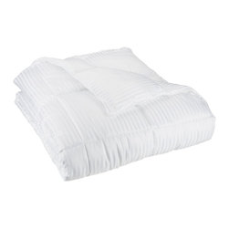 Down Alternative Stripe King Comforter - White - Keep warm this winter while not being weighed down in the summer with this All-Season Striped Down Alternative Comforter. Made of naturally hypoallergenic microfiber, this comforter feels like down and will help you drift off into a restful sleep. Dimensions: 90x108.