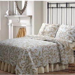 Greenland Home Fashions Felicity Quilt Set - The Greenland Home Fashions Felicity Quilt Set's updated, scrolling damask pattern has just enough old-school for traditional spaces and just enough modern in its two-tone color scheme to fit more contemporary rooms, too. This thick comforter features an all-cotton face, back, and fill with machine-stitching for added durability and a richer texture, as well as fabric-bound edges for a clean finish and added structure. The reversible comforter gives you two color schemes, and matching shams complete the set. Choose from available sizes, each with a slightly oversized comforter that accommodates today's deeper mattresses.Product Dimensions:Twin comforter: 88L x 68W in. Full/Queen comforter: 90L x 90W in.King comforter: 95L x 105W in.Small sham: 20L x 26W in.Large sham: 20L x 36W in.About Greenland Home FashionsFor the past 16 years, Greenland Home Fashions has been perfecting its own approach to textile fashions. Through constant developments and updates - in traditional, country, and more modern styles – the company has become a leading supplier and designer of decorative bedding to retailers nationwide. If you're looking for high-quality bedding that not only looks great but is crafted to last, consider Greenland.