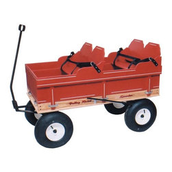 Fifthroom - Double Wagon Seat - No one can forget the endearing image of children pulled in their favorite red wagon-- and of course no one can forget how much fun it was when they were kids! Now, you can pull your kids all over town without worrying about them toppling out or injuring themselves.  This double wagon seat fits into most standard wagons and provides two safe and comfy seats complete with safety belts. (Note: Wagon not included)