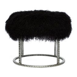 Kathy Kuo Home - Pom Pom Hollywood Regency Black Lamb Silver Studded Pouf Ottoman - The best of both worlds comes together in this Industrial Chic stool. A fabulously fluffy, upholstered black Mongolian lamb cushion perches on top of angular antique silver studded legs. It can be a luxurious ottoman or a petite seat, wherever you need a little punch of panache.