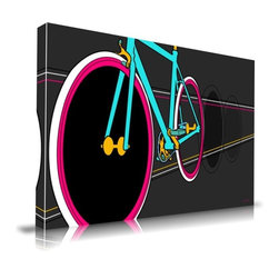 """Apt2B - Fixie' Print by Maxwell Dickson, 16"""" x 20"""" - Does this one move you? Show the world your pedal power with this zippy art piece printed with water-based and ecofriendly inks on archival museum-quality gallery wrapped canvas. These wheels come in different sizes ready to hang and are sure to deliver."""