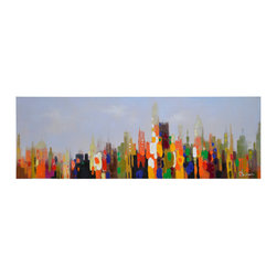 Ren-Wil - Ren-Wil Running Wild Wall Art - An abstract city scape is brought to life with all the colors of the rainbow in this 100% hand-painted canvas.