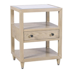 "Worlds Away - Worlds Away Windsor Limed Oak Side Table - A unique floating drawer keeps clutter at bay, leaving space for displaying decorative objects on the Windsor side table. Worlds Away adds a hint of glam to this contemporary piece's clean lines with a mirror top and glass knobs. 20""W x 18""D x 27""H. Limed oak veneer. Beveled mirror top. Glass knobs."