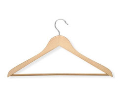 Honey Can Do - Wood Suit Hangers in Maple - Pack of 10 - Streamlined shape. Keeps clothing looking. 175 in. L x 0.45 in. W x 9.35 in. H (3 lbs.)Honey-Can-Do HNG-01366 10-Pack Suit Hanger, Natural. Beautiful, wooden clothes hanger has a contoured design perfect for keeping shirts, dresses, and jackets wrinkle-free. Features a 360 degree swivel rod hook to hang items easily on any closet rod, towel bar, or standard size door. Non-slip, grooved pant bar holds fabrics perfectly in place. The smooth finished texture of the wood protects delicate fabrics from snags. A gorgeous upgrade for any closet space.