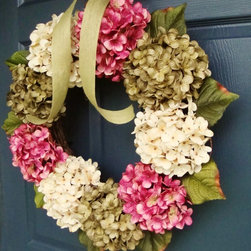 All Seasons Hydrangea Wreath by HomeHearthGarden - Hydrangeas are blooming!! These artificial hydrangea flower heads are gorgeous and make a beautiful front door wreath. The spring and summer colors combine to create a seemingly endless summer door decoration. A wreath that brings life to your front door or over the hearth, welcoming your guests to your front door.
