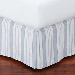 Everdell Stripe Pleated Bed-Skirt, Queen, Blue - Bright awning stripes bring a crisply tailored look to the bed. Our Everdell bed skirt is sewn from linen/cotton and features split corners with inverted pleats. Skirt is made of a linen/cotton blend. Deck is pure cotton. Machine wash. Imported.
