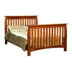 Chelsea Home Furniture - Chelsea Home Canterbury Crib with Full Size Rails in Medium Cherry - If children go through stages as they grow, so should their furniture. The Canterbury Convertible Crib Set is a solid wood 3-stage bed system that is constructed with quality and durability to transition any newborn into adulthood with elegance. The crib set, shown with Sap Cherry wood and Medium Cherry Stain, is built in classic Mission style, which originated in the early 19th century, highlighting simple vertical and horizontal lines and utilizing the natural wood grain detail. This CPSC 16 CFR 1219 and 1220 compliant convertible piece is complete with guard rail and 3-level mattress support, and simple transition instructions to keep your child resting easy and comfortable. Chelsea Home Furniture proudly offers handcrafted American made heirloom quality furniture, custom made for you. What makes heirloom quality furniture? It�s knowing how to turn a house into a home. It�s clean lines, ingenuity and impeccable construction derived from solid woods, not veneers or printed finishes over composites or wood products _ the best nature has to offer. It�s creating memories. It�s ensuring the furniture you buy today will still be the same 100 years from now! Every piece of furniture in our collection is built by expert furniture artisans with a standard of superiority that is unmatched by mass-produced composite materials imported from Asia or produced domestically. This rare standard is evident through our use of the finest materials available, such as locally grown hardwoods of many varieties, and pine, which make our products durable and long lasting. Many pieces are signed by the craftsman that produces them, as these artisans are proud of the work they do! These American made pieces are built with mastery, using mortise-and-tenon joints that have been used by woodworkers for thousands of years. In addition, our craftsmen use tongue-in-groove construction, and screws instead of nails during assembly and dovetailing _both painstaking techniques that are hard to come by in today�s marketplace. And with a wide array of stains available, you can create an original piece of furniture that not only matches your living space, but your personality. So adorn your home with a piece of furniture that will be future history, an investment that will last a lifetime.