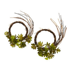 Covered In Style Inc - Mixed Succulent Wreath (Set of 2) - Good things come in twos and these versatile wreaths can be used in pairs or alone. Hang them on your front door or in your hallway for a fresh arrangement. They can go on either side of a bowl filled with fruit or nuts. Choices, choices.