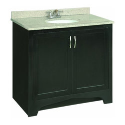 """DHI-Corp - Ventura Espresso Vanity Cabinet with 2-Doors, 36"""" by 33.5"""" - The Design House 539601 Ventura Espresso Vanity Cabinet updates your home with style and sensibility. The solid wood door frames are coated with a water resistant seal and an espresso finish. Satin nickel hardware, particle board side panels and concealed hinges complement the elegantly constructed wood. Add an additional shelf inside this cabinet for even more storage. Measuring 33.5-inches by 21-inches by 36-inches, this vanity fits in small to medium sized bathrooms while providing ample storage space. This product is CARB compliant, which means it adheres to the toughest production standards in the world for formaldehyde emissions (in wood composite paneling). Vanity top is not included with this product. The Design House 539601 Ventura Espresso Vanity Cabinet has a 1-year limited warranty that protects against defects in materials and workmanship. Design House offers products in multiple home decor categories including lighting, ceiling fans, hardware and plumbing products. With years of hands-on experience, Design House understands every aspect of the home decor industry, and devotes itself to providing quality products across the home decor spectrum. Providing value to their customers, Design House uses industry leading merchandising solutions and innovative programs. Design House is committed to providing high quality products for your home improvement projects."""