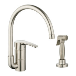 Grohe - Grohe 33980EN1 High Profile With Side Spray In Infinity Brushed Nickel - Grohe 33980EN1 from the Eurostyle Facet Collection features the lastest in technology and adds contemporary style to match nearly any design. With SilkMove for improved performance and effortless operation. The Grohe 33980EN1 is a High Profile with Side Spray With a Brushed Nickel Finish for an appearance set apart from the traditional chrome.