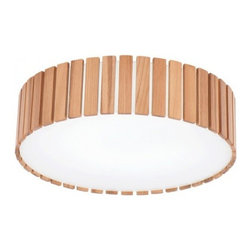 ParrotUncle - Russia Ash Wood Lath Framed Round Flush Mount, Small - Wood lath as outer shell of this ceiling lamp helps to protect the shade from damage, and it is also help to hold lighting for using. It is modern style in fashion for any kind of home decoration. Circle bulbs are not included.