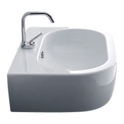 WS Bath Collections - Flo 3142 Ceramic Sink 23.6 x 16.5 - You're splashy enough. Your bathroom sink doesn't need to be splashy, too. This one is made of glazed white ceramic with one center faucet hole, and can be hung on the wall or mounted to a counter. Stylish and modern, it has a deep, pill-shaped bowl to keep the water where it belongs.