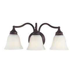 Murray Feiss - Murray Feiss Bristol Bathroom Lighting Fixture in Oil Rubbed Bronze - Shown in picture: Bristol Vanity Strip in Oil Rubbed Bronze finish with White Alabaster Glass Shade