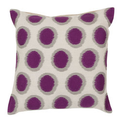 Surya Rugs - Papyrus African Violet and Blue Corn Polyester Filled 22 x 22  Pillow - - Add fun to any room with this polka-dot design and colors of papyrus african violet and blue corn. This pillow has a polyester fill and zipper closure. Made in India with one hundred percent linen this pillow is durable and priced right  - Cleaning/Care: Blot. Dry Clean  - Filled Material: Polyester Filler Surya Rugs - AR089-2222P