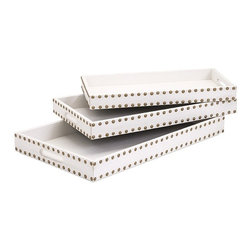 IMAX - Essentials Celebrations Trays - Set of 3 - Serve up style with a touch of glamour at any special event with three, gold studded, leather-look trays with cut-out handholds for ease of use, from the Celebrations Collection by Connie Post. Set of three.
