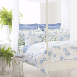 """Matouk - Matouk Queen Diamond Pique Coverlet, 94"""" x 97"""" - Shades of ocean, honeydew, azure, and white come together in one charming bed linens ensemble. Made in the USA of fabrics woven in Portugal. From Lulu DK for Matouk. Machine wash. """"Charlotte"""" is a print of ocean blue allium flowers. Made of 300-thread..."""