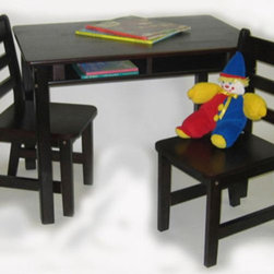 Lipper International - Kids' Table and Chair Set - This carefully crafted child's table and chair set provides a stylish and utilitarian work area for your playroom, or for any room in your house. The shelves under the table top are ideal for holding books, crayons or other tools, keeping the table neat and presentable when it's not in use. Features: -Convenient storage shelves.-Easy to clean surface.-Includes table and two chairs.-Collection: Juvenile Furniture.-Hardware Finish: Nickel.-Distressed: No.-Powder Coated Finish: No.-Gloss Finish: No.-Table Top Material: Wood.-Table Base Material: Wood.-Hardware Material: Nickel.-Hand-Painted: No.-Number of Items Included: 3.-Pieces Included: Table and 2 chairs.-Non Toxic: Yes.-Weather Resistant: No.-Water Resistant: No.-Scratch Resistant: No.-Fade Resistant: No.-UV Resistant: No.-Stain Resistant: No.-Insect Resistant: No.-Rot Resistant: No.-Chip Resistant: No.-Table Design: Writing Table.-Table Shape: Rectangular.-Wheels Included: No.-Rounded Corners: Yes.-Table Legs: Yes -Number of Legs: 4.-Removable Legs: Yes.-Leg Glides: No..-Seating Included: Yes -Seating Type: Standard Chairs.-Number of Chairs Included: 2.-Attached Seating: No.-Seating Material: Wood.-Seating Cushion Included: No.-Number of Chair Legs: 4.-Removable Chair Legs: Yes.-Chair Leg Glides: No.-Seating Weight Capacity: 60.-Nested Seating: Yes.-Seating Storage: No..-Table Top Organization: Yes.-Drawers Included: No.-Shelving Included: Yes -Number of Shelves: 1.-Adjustable Shelving: No..-Storage Features: No.-Cupholder: No.-Umbrella Included: No.-Chalkboard Included: No.-Whiteboard Included: No.-Easel Included: No.-Collapsible: No.-Minimum Age: 2.-Maximum Age: 9.-Total Seating Capacity: 2.-Outdoor Use: No.-Table Weight Capacity: 30.-Swatch Available: No.-Commercial Use: No.-Recycled Content: No.-Eco-Friendly: No.-Product Care: Wipe clean with a damp cloth.Specifications: -ASTM Certified: No.-CARB Compliant: No.-CPSIA or CPSC Compliant: No.-EPP Compliant: No.-FSC Certified: No.-General Conformity Certified: Yes.-Green Guard Certified: No.-JPMA Certified: Yes.-SFI Certified: No.Dimensions: -Table Height - Top to Bottom: 24.-Table Width - Side to Side: 33.25.-Table Depth - Front to Back: 21.75.-Seating: -Seating Height - Top to Bottom: 25.5.-Seating Width - Side to Side: 13.75.-Seating Depth - Front to Back: 14.5.-Seat Weight: 6.95..-Shelving: -Shelf Height - Top to Bottom: 2.5.-Shelf Width - Side to Side: 11.-Shelf Depth - Front to Back: 9..-Overall Product Weight: 55.76.Assembly: -Assembly Required: Yes.-Tools Needed: Allan key included.-Additional Parts Required: No.