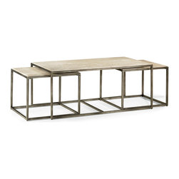 Hammary - Hammary Modern Basics Rectangular Cocktail Table with Textured Bronze Base - Rectangular Cocktail Table with Textured Bronze Base belongs to Modern Basics collection by Hammary Spice up your living room with a collection that offers style for modern living. This occasional table collection consists of a combination of Natural Travertine and Bronze metal for a sleek, contemporary look. Featuring simple silhouettes of circles, rectangles, and squares, you can be sure that this collection can fit in with just about any style decor. Simple, straight lines make up the leg supports, while a simple palette of travertine makes up the table tops. What a wonderful way to bring in an element of modern living. Bring focus to your living room with this simple yet eye-catching cocktail nesting table. The table features a simple Rectangular shape with a stunning Natural Travertine table top. Supporting the table is a Bronze metal box frame. Accompanying the cocktail table are two additional tables that comfortably fit underneath the table. These tables easily pull-out to provide additional table space and can easily put away when not needed. What an innovative and modern solution for modern entertaining!