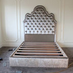 Parkdale Residence - We have just started installing this space starting with this amazing upholstered bed.  We designed this as a platform bed with an upholstered base to match the head board.  This eliminated the need for a bed